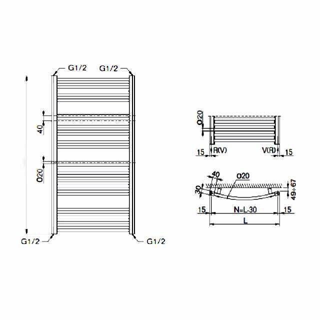 buderus badheizk rper therm curve mittelanschluss gerade mit bauh he 1820mm baubreite 945mm. Black Bedroom Furniture Sets. Home Design Ideas